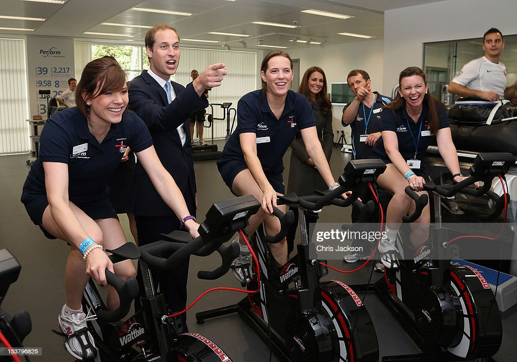 <a gi-track='captionPersonalityLinkClicked' href=/galleries/search?phrase=Prince+William&family=editorial&specificpeople=178205 ng-click='$event.stopPropagation()'>Prince William</a>, Duke of Cambridge and Catherine, Duchess of Cambridge meet ladies on training bikes in the new gym during the official launch of The Football Association's National Football Centre at St George's Park on October 9, 2012 in Burton-upon-Trent, England.