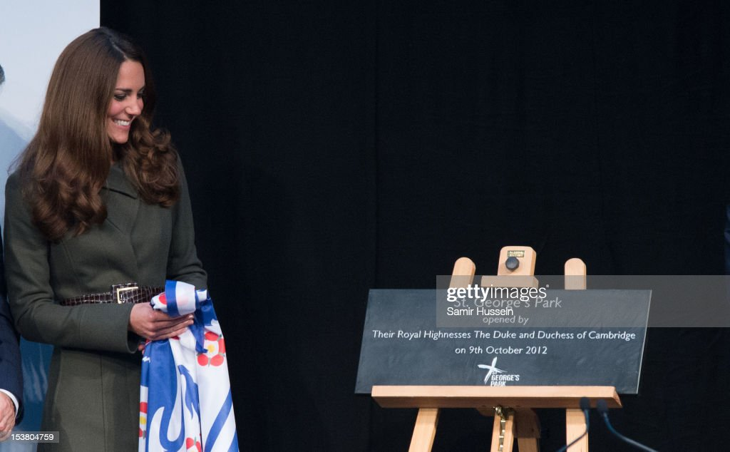 Prince William, Duke of Cambridge (not pictured) and <a gi-track='captionPersonalityLinkClicked' href=/galleries/search?phrase=Catherine+-+Duchess+of+Cambridge&family=editorial&specificpeople=542588 ng-click='$event.stopPropagation()'>Catherine</a>, Duchess of Cambridge officially launch the Football Association's National Football Centre at St George's Park on October 9, 2012 in Burton-upon-Trent, England.