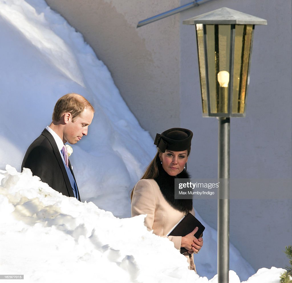 Prince William, Duke of Cambridge and Catherine, Duchess of Cambridge attend the wedding of Laura Bechtolsheimer and Mark Tomlinson at the Protestant Church on March 2, 2013 in Arosa, Switzerland.