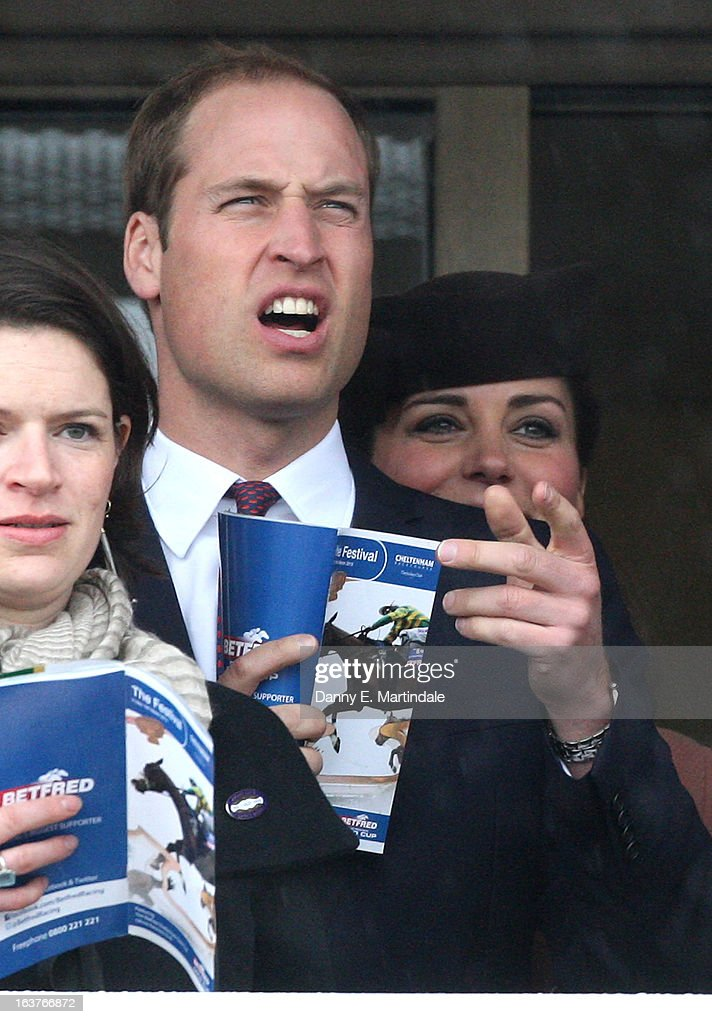 Prince William, Duke of Cambridge and <a gi-track='captionPersonalityLinkClicked' href=/galleries/search?phrase=Catherine+-+Duchesse+de+Cambridge&family=editorial&specificpeople=542588 ng-click='$event.stopPropagation()'>Catherine</a>, Duchess of Cambridge (R) watch the first race of the day on day 4 of the Cheltenham Festival at Cheltenham Racecourse on March 15, 2013 in Cheltenham, England.