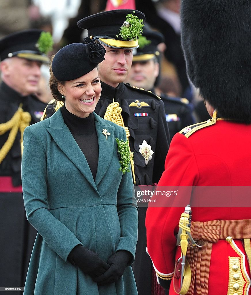 Prince William, Duke of Cambridge and Catherine, Duchess of Cambridge attend a St Patrick's Day parade by the 1st Battalion Irish Guards as they visit Aldershot Barracks on St Patrick's Day on March 17, 2013 in Aldershot, England.