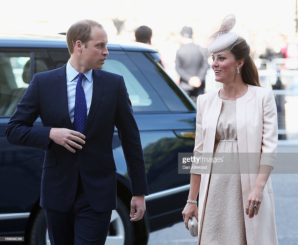 <a gi-track='captionPersonalityLinkClicked' href=/galleries/search?phrase=Prince+William&family=editorial&specificpeople=178205 ng-click='$event.stopPropagation()'>Prince William</a>, Duke of Cambridge and <a gi-track='captionPersonalityLinkClicked' href=/galleries/search?phrase=Catherine+-+Duchess+of+Cambridge&family=editorial&specificpeople=542588 ng-click='$event.stopPropagation()'>Catherine</a>, Duchess of Cambridge arrive for a service of celebration to mark the 60th anniversary of the Coronation Queen Elizabeth II at Westminster Abbey on June 4, 2013 in London, England. The Queen's Coronation took place on June 2, 1953 after a period of mourning for her father King George VI, following her ascension to the throne on February 6, 1952. The event 60 years ago was the first time a coronation was televised for the public.