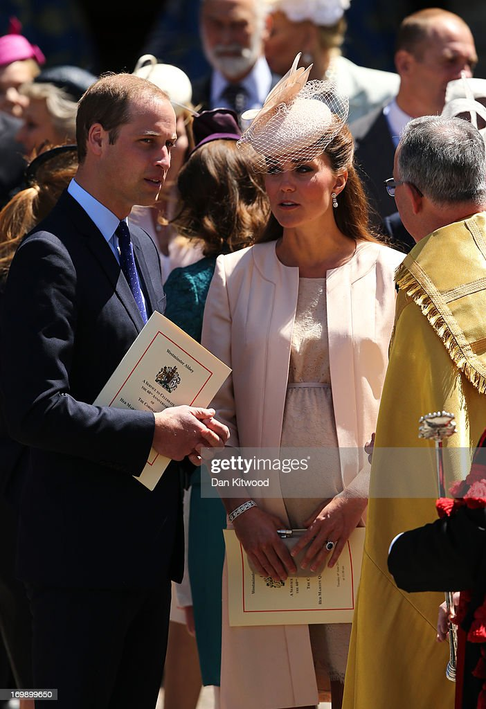<a gi-track='captionPersonalityLinkClicked' href=/galleries/search?phrase=Prince+William&family=editorial&specificpeople=178205 ng-click='$event.stopPropagation()'>Prince William</a>, Duke of Cambridge and <a gi-track='captionPersonalityLinkClicked' href=/galleries/search?phrase=Catherine+-+Duchess+of+Cambridge&family=editorial&specificpeople=542588 ng-click='$event.stopPropagation()'>Catherine</a>, Duchess of Cambridge leave a service of celebration to mark the 60th anniversary of the Coronation Queen Elizabeth II at Westminster Abbey on June 4, 2013 in London, England. The Queen's Coronation took place on June 2, 1953 after a period of mourning for her father King George VI, following her ascension to the throne on February 6, 1952. The event 60 years ago was the first time a coronation was televised for the public.