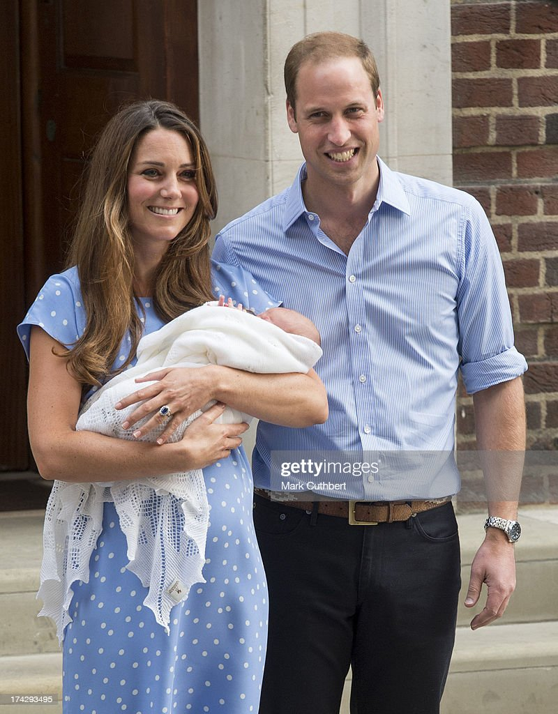 Prince William, Duke of Cambridge and Catherine, Duchess of Cambridge depart The Lindo Wing with their newborn Son at St Mary's Hospital on July 23, 2013 in London, England.