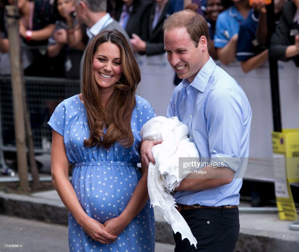 Prince William, Duke of Cambridge and Catherine, Duchess of Cambridge with their newborn son speak to the media before departing the Lindo Wing of St Mary's Hospital on July 23, 2013 in London, England. Catherine, Duchess of Cambridge yesterday gave birth to a boy at 16.24 BST and weighing 8lb 6oz, with Prince William, Duke of Cambridge at her side. The baby, as yet unnamed, is third in line to the throne and becomes the Prince of Cambridge.