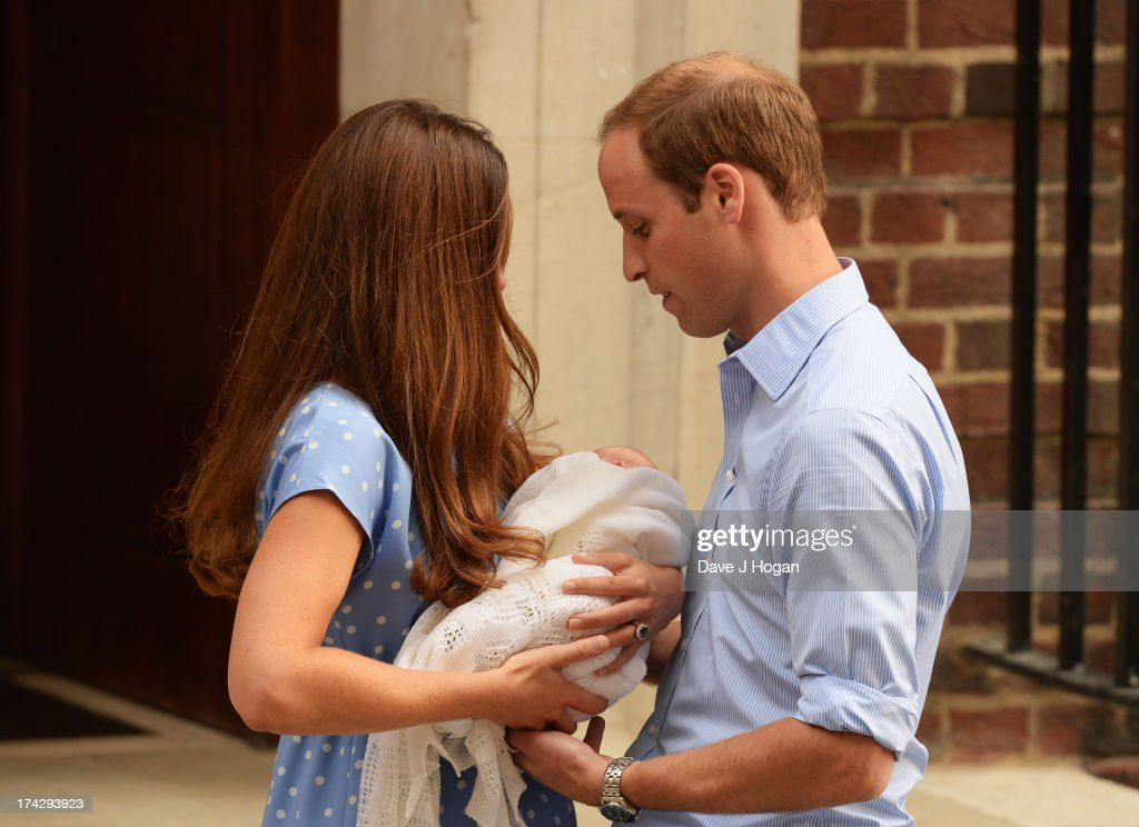 Prince William, Duke of Cambridge and Catherine, Duchess of Cambridge, depart The Lindo Wing with their newborn son at St Mary's Hospital on July 23, 2013 in London, England. The Duchess of Cambridge yesterday gave birth to a boy at 16.24 BST and weighing 8lb 6oz, with Prince William at her side. The baby, as yet unnamed, is third in line to the throne and becomes the Prince of Cambridge.