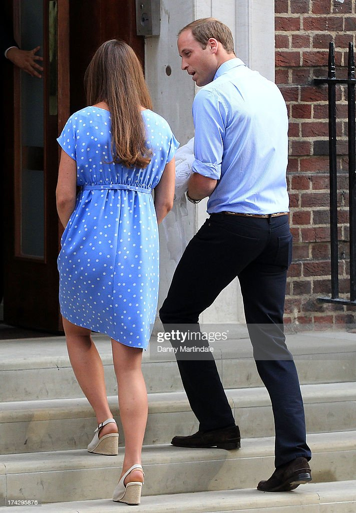 Prince William, Duke of Cambridge and Catherine, Duchess of Cambridge with their newborn son prepare to depart the Lindo Wing of St Mary's Hospital after coming out to speak to the media on July 23, 2013 in London, England. Catherine, Duchess of Cambridge yesterday gave birth to a boy at 16.24 BST and weighing 8lb 6oz, with Prince William, Duke of Cambridge at her side. The baby, as yet unnamed, is third in line to the throne and becomes the Prince of Cambridge.