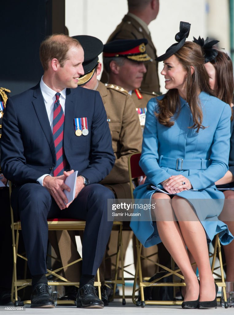 Prince William, Duke of Cambridge and Catherine, Duchess of Cambridge attend a service during the D-Day 70 Commemorations on June 6, 2014 in Arromanches Les Bains, France.