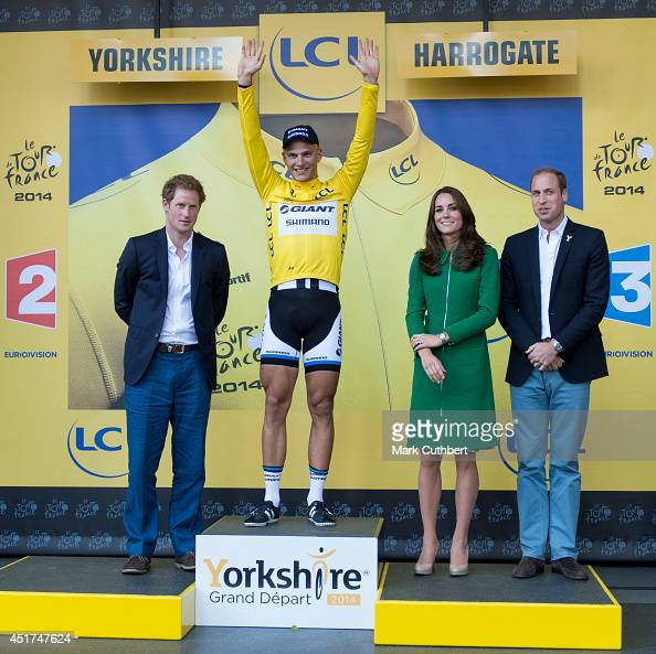 Prince William Duke of Cambridge and Catherine Duchess of Cambridge with Prince Harry at the finish line of stage one of The Tour de France where The...
