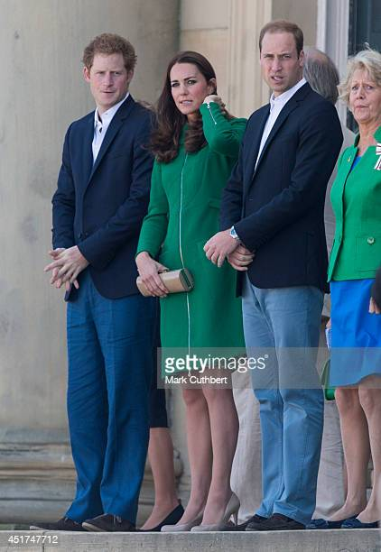 Prince William Duke of Cambridge and Catherine Duchess of Cambridge with Prince Harry attend the Grand Depart of The Tour de France at Harewood House...
