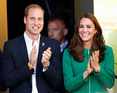 Prince William Duke of Cambridge and Catherine Duchess of Cambridge stand on the podium at the finish of stage one of the Tour de France on July 5...