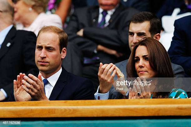 Prince William Duke of Cambridge and Catherine Duchess of Cambridge in the Royal Box on Centre Court before the Gentlemen's Singles Final match...