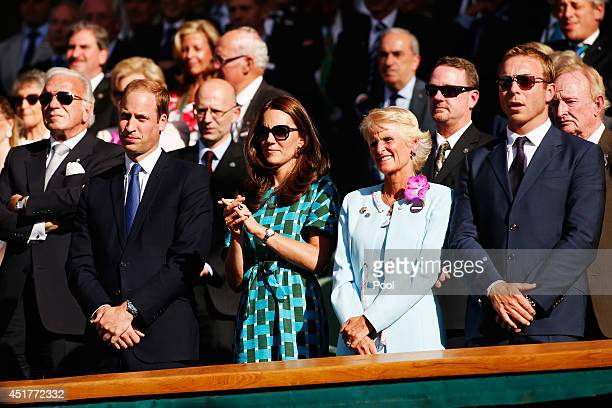 Prince William Duke of Cambridge and Catherine Duchess of Cambridge and Sir Chris Hoy in the Royal Box on Centre Court before the Gentlemen's Singles...
