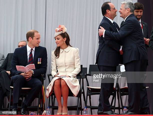 Prince William Duke of Cambridge and Catherine Duchess of Cambridge attend a WW1 100 Years Commomoration Ceremony with French President Francois...
