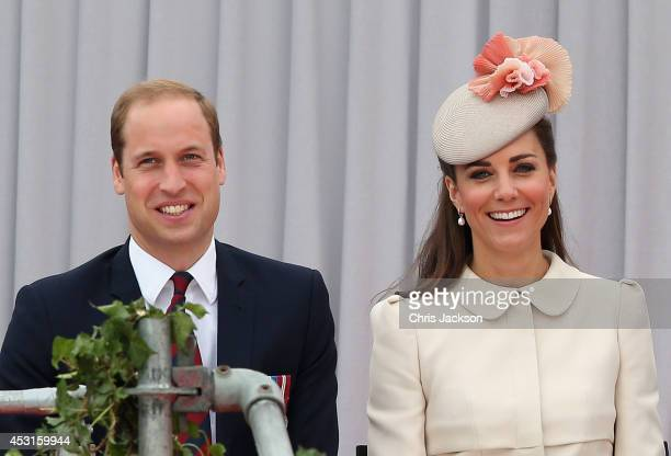 Prince William Duke of Cambridge and Catherine Duchess of Cambridge attend a WW1 100 Years Commomoration Ceremony at Le Memorial Interallie on August...