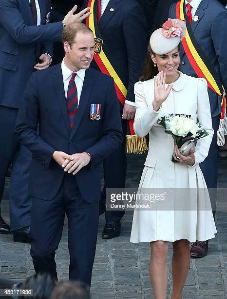 Prince William Duke of Cambridge and Catherine Duchess of Cambridge attend a reception at Grand Place on August 4 2014 in Mons Belgium Monday 4th...
