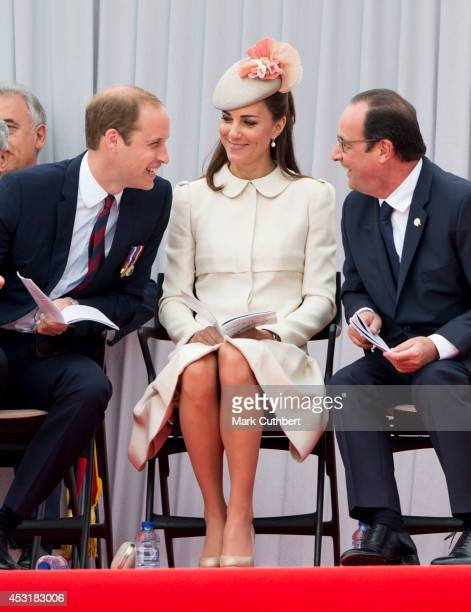 Prince William Duke of Cambridge and Catherine Duchess of Cambridge with Francois Hollande at Saint Laurent Abbey for a ceremony to mark 100th...