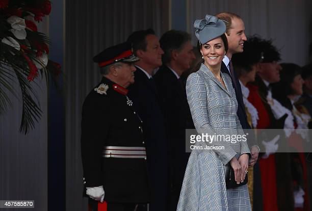 Prince William Duke of Cambridge and Catherine Duchess of Cambridge are seen as they welcome the President of Singapore Tony Tan Keng Yam at the...