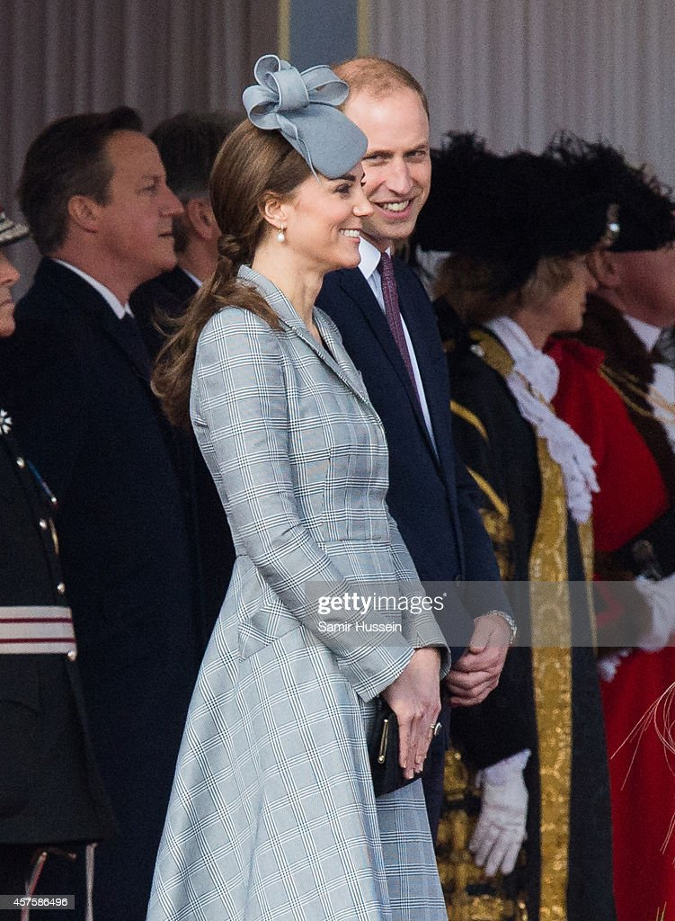Prince William, Duke of Cambridge and Catherine Duchess of Cambridge attend a Ceremonial Welcome for the President of Singapore Tony Tan Keng Yam at Horse Guards Parade on October 21, 2014 in London, England.