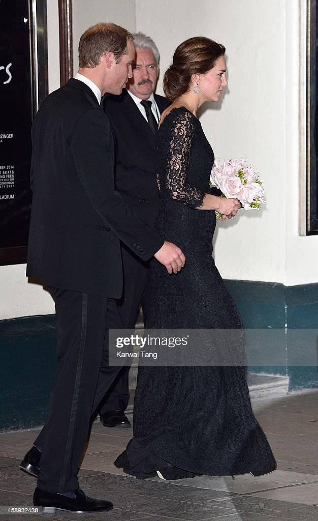 Prince William, Duke of Cambridge and Catherine, Duchess of Cambridge depart after attending The Royal Variety Performance at the London Palladium on November 13, 2014 in London, England.