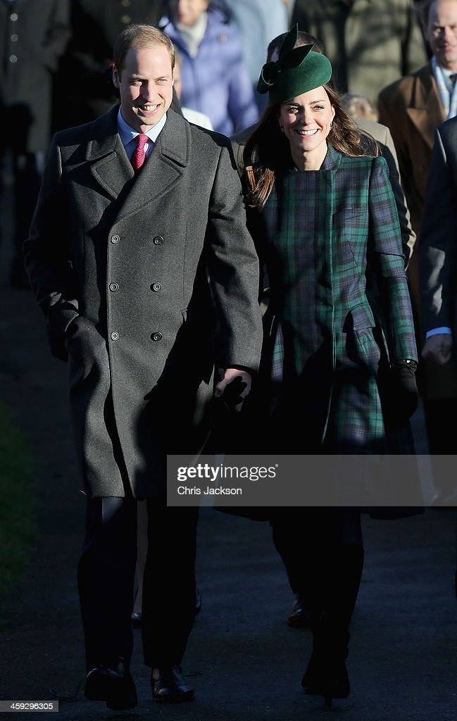 Prince William, Duke of Cambridge and <a gi-track='captionPersonalityLinkClicked' href=/galleries/search?phrase=Catherine+-+Duchess+of+Cambridge&family=editorial&specificpeople=542588 ng-click='$event.stopPropagation()'>Catherine</a>, Duchess of Cambridge arrive for the Christmas Day service at Sandringham on December 25, 2013 in King's Lynn, England.