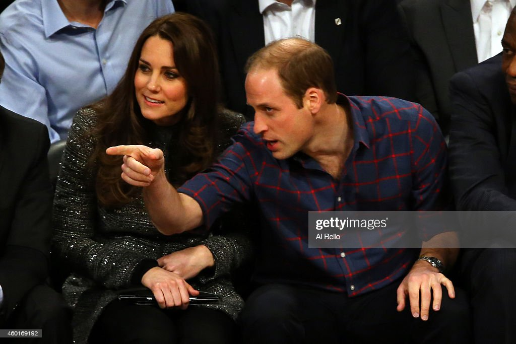 Prince William Duke of Cambridge and Catherine Duchess of Cambridge watch the game between the Cleveland Cavaliers and the Brooklyn Nets at Barclays...