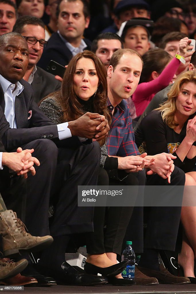 Prince William, Duke of Cambridge and Catherine, Duchess of Cambridge watch the game between the Cleveland Cavaliers and the Brooklyn Nets at Barclays Center on December 8, 2014 in the Brooklyn borough of New York City.