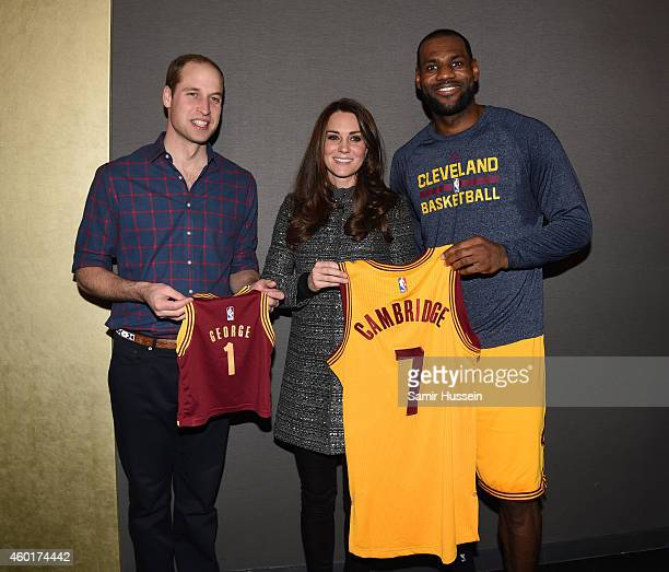 Prince William Duke of Cambridge and Catherine Duchess of Cambridge meet LeBron James as they attend the Cleveland Cavaliers vs Brooklyn Nets game at...