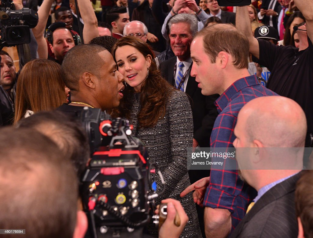 Prince William Duke of Cambridge and Catherine Duchess of Cambridge meet recording artists JayZ and Beyonce as CEO Brooklyn Nets and Barclays Center...