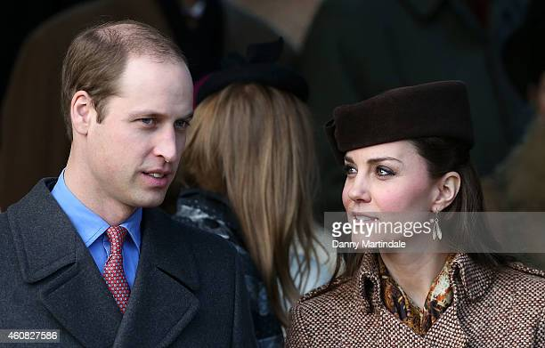Prince William Duke of Cambridge and Catherine Duchess of Cambridge attend a Christmas Day church service at Sandringham on December 25 2014 in...