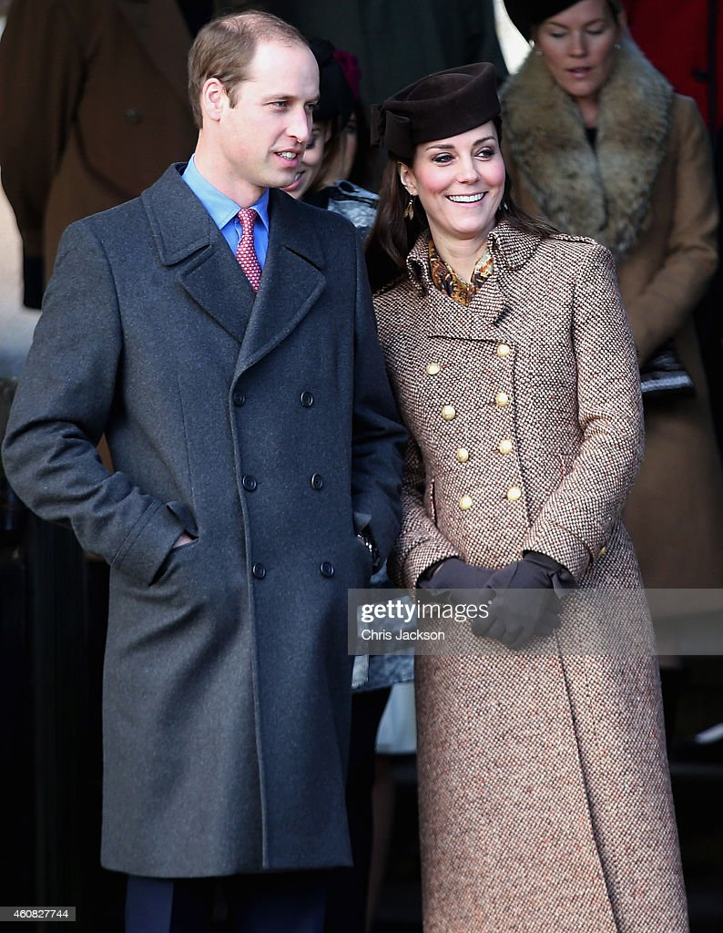 Prince William Duke of Cambridge and Catherine Duchess of Cambridge leave the Christmas Day Service at Sandringham Church on December 25 2014 in...