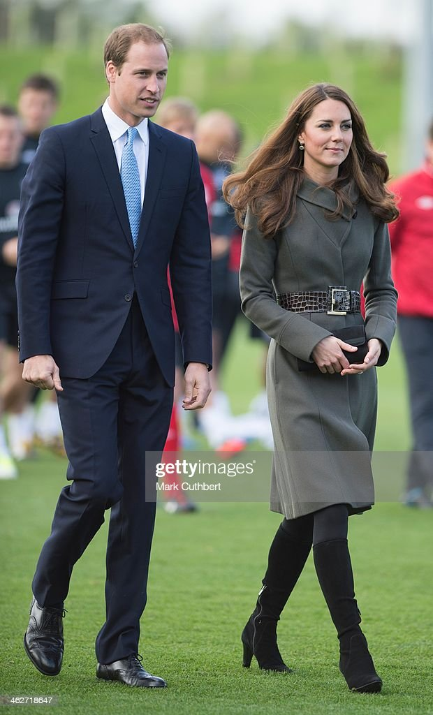 Prince William, Duke of Cambridge and <a gi-track='captionPersonalityLinkClicked' href=/galleries/search?phrase=Catherine+-+Duchess+of+Cambridge&family=editorial&specificpeople=542588 ng-click='$event.stopPropagation()'>Catherine</a>, Duchess of Cambridge attend the official launch of The Football Association's National Football Centre at St George's Park on October 9, 2012 in Burton, England.