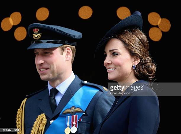 Prince William Duke of Cambridge and Catherine Duchess of Cambridge leave St Paul's Cathedral after a Service of Commemoration for troops who were...