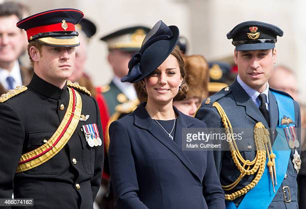 Prince William Duke of Cambridge and Catherine Duchess of Cambridge with Prince Harry during a Service of Commemoration for troops who were stationed...