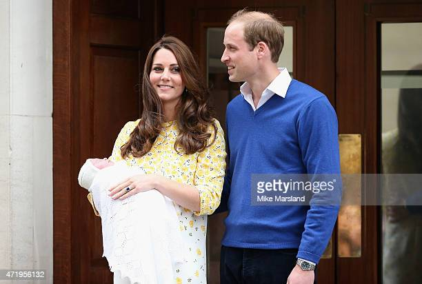 Prince William Duke of Cambridge and Catherine Duchess Of Cambridge depart the Lindo Wing with their new baby daughter at St Mary's Hospital on May 2...