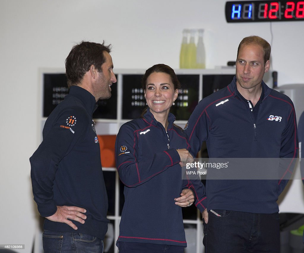 Prince William, Duke of Cambridge (R) and Catherine, Duchess of Cambridge (C) share a joke with Sir Ben Ainslie during a visit to the headquarters of Britain's Land Rover-backed BAR team during the America's Cup World Series event on July 26, 2015 in Portsmouth, England.