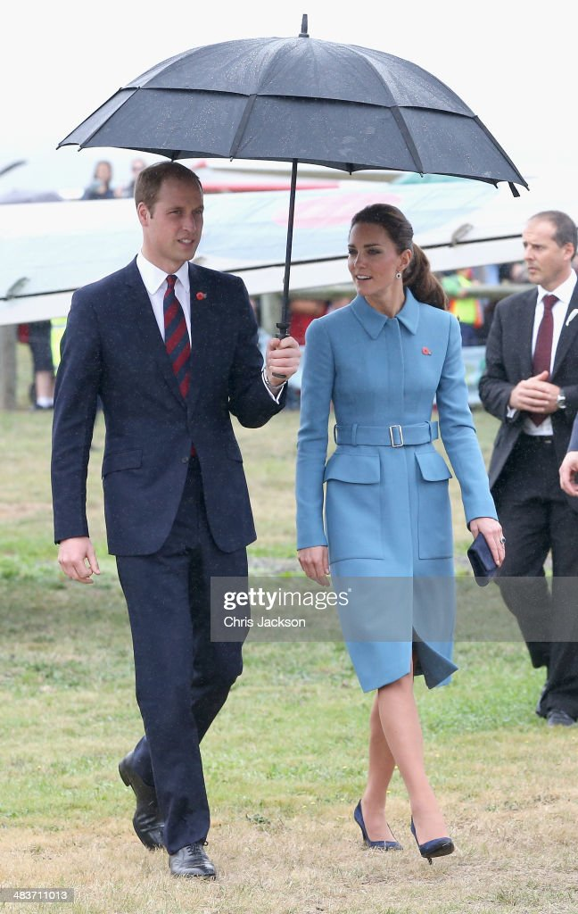 Prince William, Duke of Cambridge and <a gi-track='captionPersonalityLinkClicked' href=/galleries/search?phrase=Catherine+-+Duchess+of+Cambridge&family=editorial&specificpeople=542588 ng-click='$event.stopPropagation()'>Catherine</a>, Duchess of Cambridge visit Omaka Aviation Heritage Centre on Day 4 of a Royal Tour to New Zealand on April 10, 2014 in Blenheim, New Zealand. The Duke and Duchess of Cambridge are on a three-week tour of Australia and New Zealand, the first official trip overseas with their son, Prince George of Cambridge.