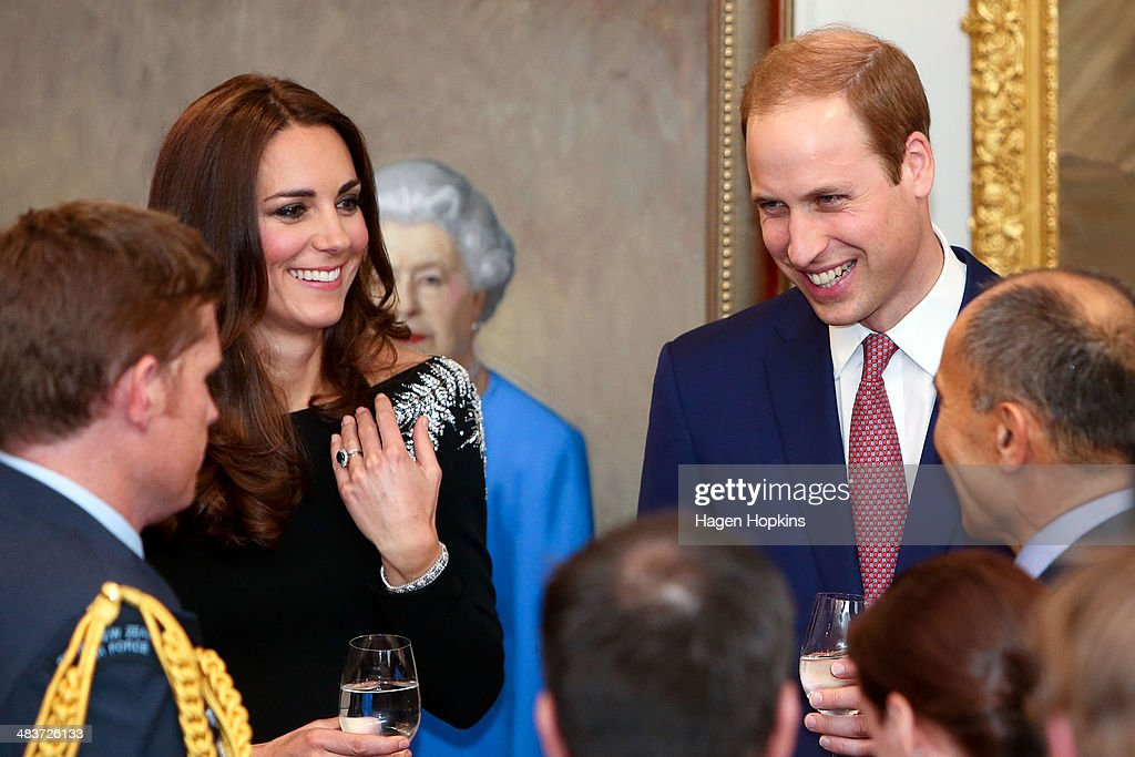 <a gi-track='captionPersonalityLinkClicked' href=/galleries/search?phrase=Prince+William&family=editorial&specificpeople=178205 ng-click='$event.stopPropagation()'>Prince William</a>, Duke of Cambridge and <a gi-track='captionPersonalityLinkClicked' href=/galleries/search?phrase=Catherine+-+Duchess+of+Cambridge&family=editorial&specificpeople=542588 ng-click='$event.stopPropagation()'>Catherine</a>, Duchess of Cambridge mingle during a state reception at Government House on April 10, 2014 in Wellington, New Zealand. The Duke and Duchess of Cambridge are on a three-week tour of Australia and New Zealand, the first official trip overseas with their son, Prince George of Cambridge.