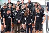 Prince William Duke of Cambridge and Catherine Duchess of Cambridge on the yacht Imagine talk with Grant Dalton and Dan Barker of Team New Zealand at...