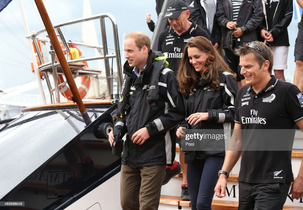 Prince William Duke of Cambridge and Catherine Duchess of Cambridge prepare to sail with Dean Barker and Team New Zealand at the Viaduct Basin on...