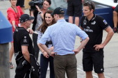 Prince William Duke of Cambridge and Catherine Duchess of Cambridge have a post race discussion with Grant Dalton and Dean Barker of Team New Zealand...