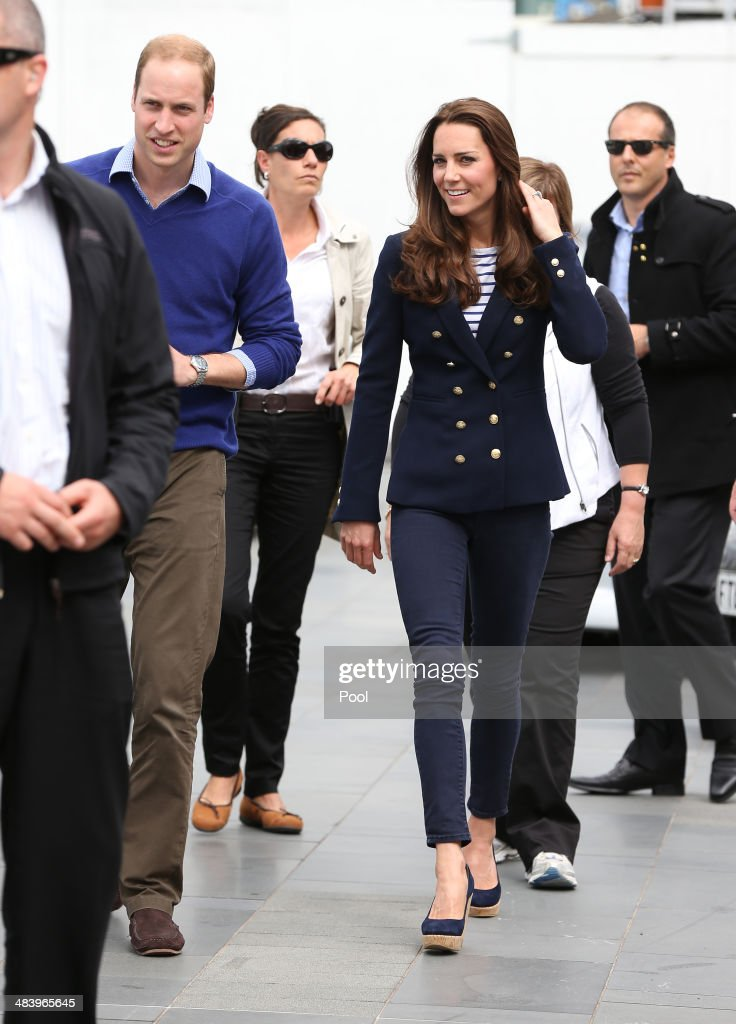 Prince William Duke of Cambridge and Catherine Duchess of Cambridge arrive to the Viaduct Basin to sail with Team New Zealand on April 11 2014 in...