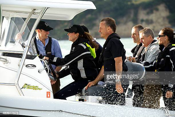 Prince William Duke of Cambridge and Catherine Duchess of Cambridge travel by Sealegs craft to Westpark Marina to sail with Team New Zealand at the...