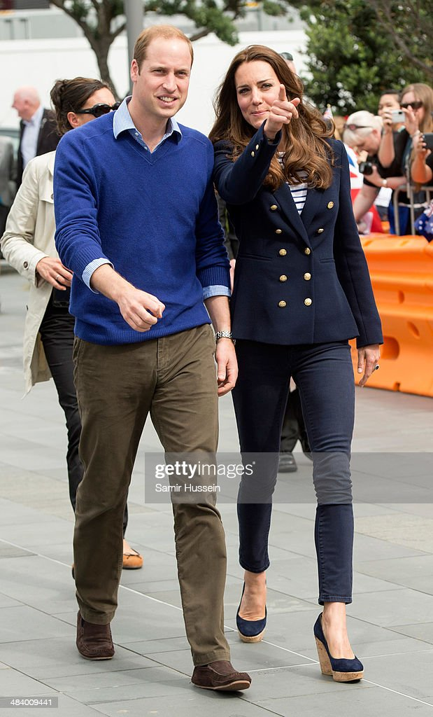 Prince William, Duke of Cambridge and Catherine, Duchess of Cambridge walk ahead of going sailing during their visit to Auckland Harbour on April 11, 2014 in Auckland, New Zealand. The Duke and Duchess of Cambridge are on a three-week tour of Australia and New Zealand, the first official trip overseas with their son, Prince George of Cambridge.