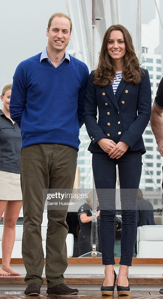 Prince William, Duke of Cambridge and <a gi-track='captionPersonalityLinkClicked' href=/galleries/search?phrase=Catherine+-+Hertiginna+av+Cambridge&family=editorial&specificpeople=542588 ng-click='$event.stopPropagation()'>Catherine</a>, Duchess of Cambridge pose ahead of going sailing during their visit to Auckland Harbour on April 11, 2014 in Auckland, New Zealand. The Duke and Duchess of Cambridge are on a three-week tour of Australia and New Zealand, the first official trip overseas with their son, Prince George of Cambridge.