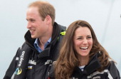 Prince William Duke of Cambridge and Catherine Duchess of Cambridge on board 'Sealegs' during their visit to Auckland Harbour on April 11 2014 in...