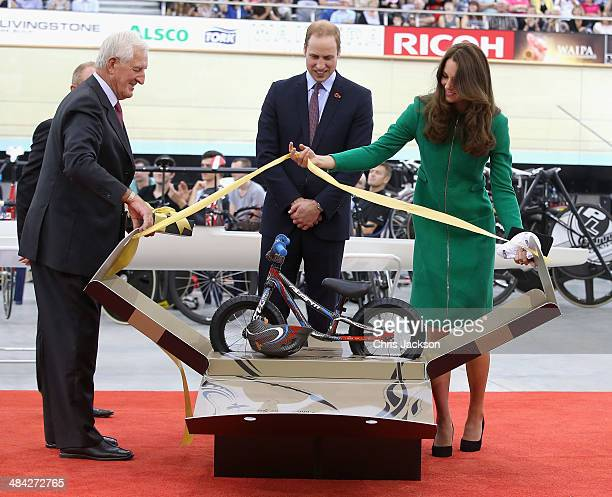 Prince William Duke of Cambridge and Catherine Duchess of Cambridge are presented with a Avanti mini bike for Prince George during a visit to the...