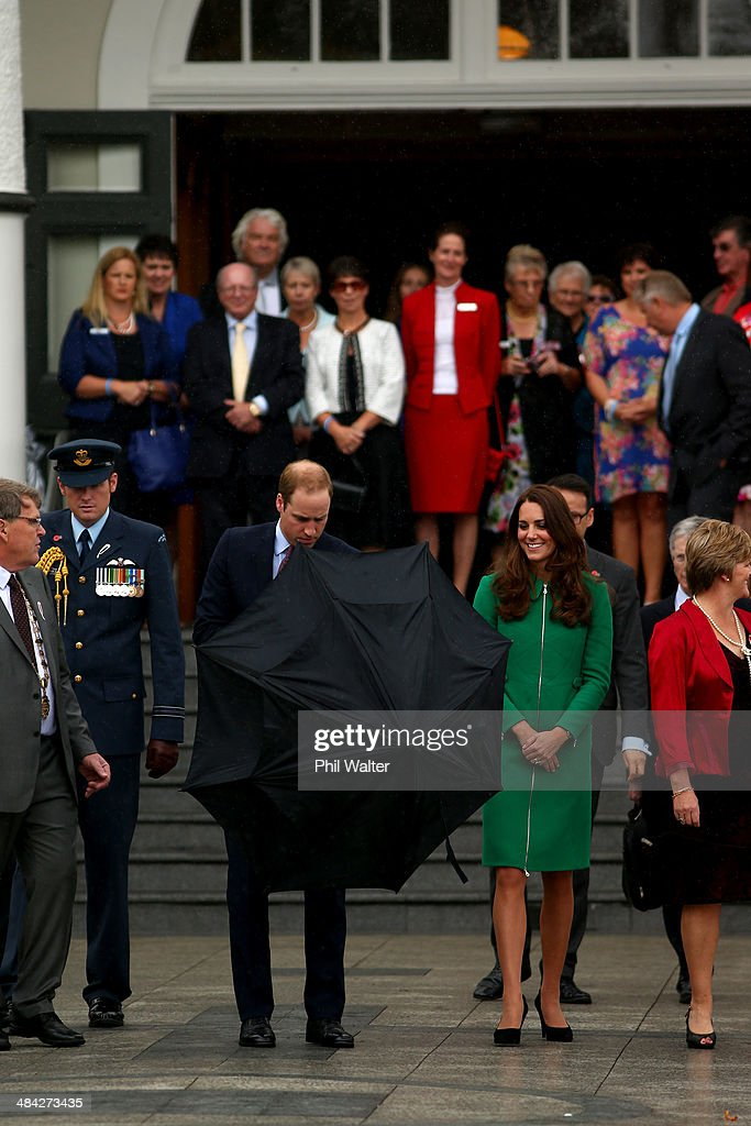Prince William, Duke of Cambridge (L) and Catherine, Duchess of Cambridge (R) leave the Cambridge Town Hall on April 12, 2014 in Cambridge, New Zealand. The Duke and Duchess of Cambridge are on a three-week tour of Australia and New Zealand, the first official trip overseas with their son, Prince George of Cambridge.