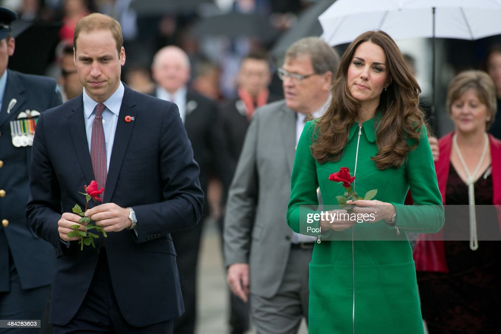 <a gi-track='captionPersonalityLinkClicked' href=/galleries/search?phrase=Prince+William&family=editorial&specificpeople=178205 ng-click='$event.stopPropagation()'>Prince William</a>, Duke of Cambridge (L) and <a gi-track='captionPersonalityLinkClicked' href=/galleries/search?phrase=Catherine+-+Duchess+of+Cambridge&family=editorial&specificpeople=542588 ng-click='$event.stopPropagation()'>Catherine</a>, Duchess of Cambridge (R) place a flower on the War Memorial at the Cambridge Town Hall on April 12, 2014 in Cambridge, New Zealand. The Duke and Duchess of Cambridge are on a three-week tour of Australia and New Zealand, the first official trip overseas with their son, Prince George of Cambridge.