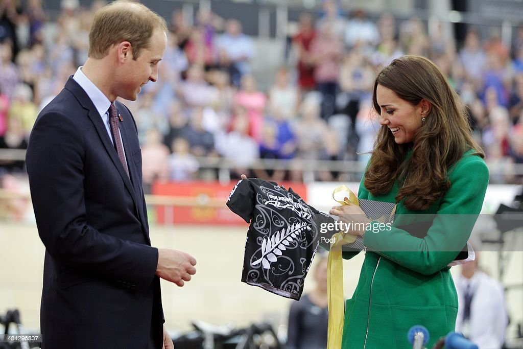 <a gi-track='captionPersonalityLinkClicked' href=/galleries/search?phrase=Prince+William&family=editorial&specificpeople=178205 ng-click='$event.stopPropagation()'>Prince William</a>, Duke of Cambridge and <a gi-track='captionPersonalityLinkClicked' href=/galleries/search?phrase=Catherine+-+Duchess+of+Cambridge&family=editorial&specificpeople=542588 ng-click='$event.stopPropagation()'>Catherine</a>, Duchess of Cambridge are presented with a Avanti mini bike for Prince George during a visit to the Avanti Drome on April 12, 2014 in Hamilton, New Zealand. The Duke and Duchess of Cambridge are on a three-week tour of Australia and New Zealand, the first official trip overseas with their son, Prince George of Cambridge.